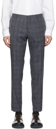 Paul Smith Grey and Navy Wool Slim Trousers