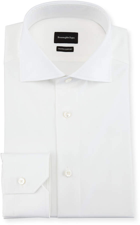 Ermenegildo Zegna Trofeo Comfort Cotton Dress Shirt, White