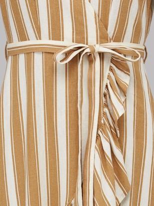Very Linen Wrap Ruffle Front Midi