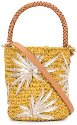 Aranaz Applique Woven Bucket Bag