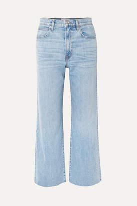 Slvrlake SLVRLAKE - Grace Cropped Frayed High-rise Wide-leg Jeans - Light denim