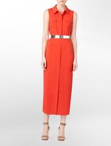 Sleeveless Full-Length Shirt Dress