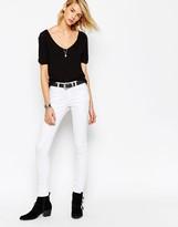 Asos Lisbon Midrise Skinny Jeans In White
