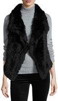 Alberto Makali Solid Rabbit Fur Vest, Black