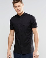 Asos MilitaryShirt In Black In Regular Fit