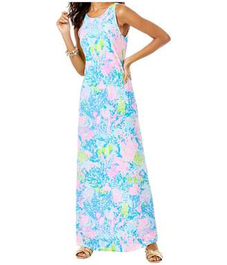 Lilly Pulitzer Women's Fitted Flats Length Sleeveless Maxi Dress with Lattice Detail at Back Neck