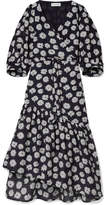 Apiece Apart Bougainvillea Floral-print Cotton And Silk-blend Wrap Dress - Midnight blue
