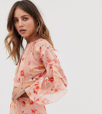 White Sand floral long sleeve top in coral floral print-Multi