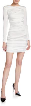 Alex Perry Ruched-Satin Mini Blazer Dress