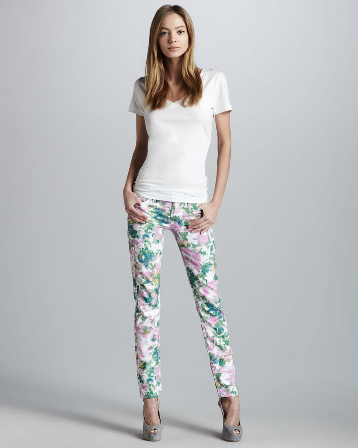 7 For All Mankind Kauai Floral-Print Skinny Jeans