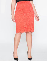 ELOQUII Plus Size Scalloped Lace Pencil Skirt