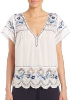 Calypso St. Barth Kerala Embroidered Short-Sleeve Top