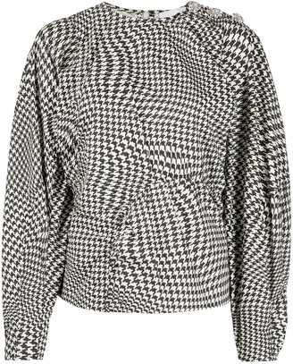 Ganni Houndstooth-Print Blouse