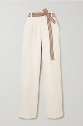 Brunello Cucinelli Belted Cotton-blend Wide-leg Pants - White