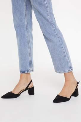 Nasty Gal Womens Immi Suede Low Block Heel Slingback Court - Black - 3