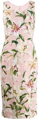 Dolce & Gabbana lily print midi dress