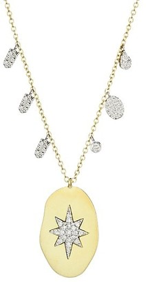 Meira T 14K Yellow Gold & Diamond Starburst Oval Disc Necklace