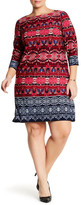 London Times 3/4 Sleeve Printed Shift Dress (Plus Size)