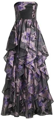 Aidan Mattox Strapless Organza Ruffle Gown