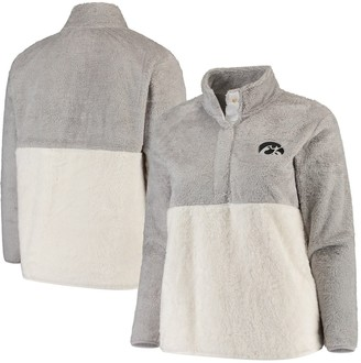 Women's Gray/Cream Iowa Hawkeyes Plus Size Fuzzy Fleece Colorblocked Four-Snap Pullover Jacket