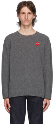 Comme des Garcons Grey Heart Patch Crewneck Sweater