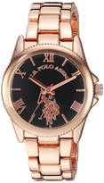 U.S. Polo Assn. Women's Gold Tone Metal Analog-Quartz Watch with Stainless Steel Strap