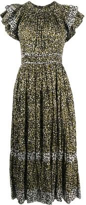 Ulla Johnson Leopard Ruffle Detail Dress
