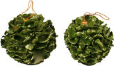 One Kings Lane Vintage Two Paper Moss Ball Xmas Ornaments