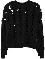 DKNY Black Open Cable-knit Wool Jumper