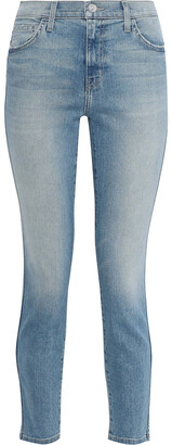 Current/Elliott The Caballo Cropped Frayed Mid-rise Slim-leg Jeans