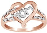 AFFY White Natural Diamond Two-Tone Mom Heart Ring in 10k Solid Gold (0.25 Ct) For Mother Day's Special
