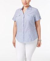 Karen Scott Plus Size Textured Short-Sleeve Shirt, Only at Macy's