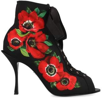 Dolce & Gabbana Floral Print Lace Up Heeled Ankle Boots