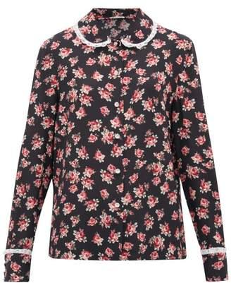 Miu Miu Lace-trimmed Rose-print Silk Blouse - Womens - Black Multi