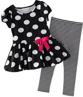 Bonnie Jean dotted dress & striped leggings set - toddler