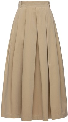 Max Mara 'S Pleated Cotton Twill Midi Skirt