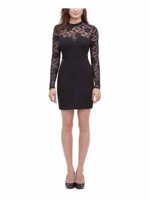 GUESS Womens Black Lace Long Sleeve Illusion Neckline Short Sheath Cocktail Dress Size: 2