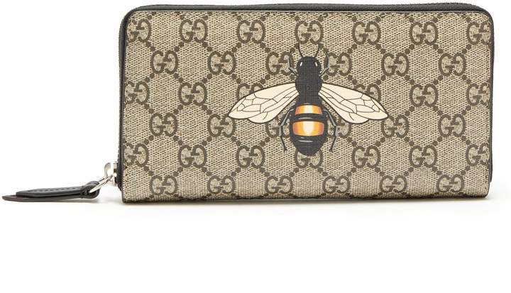 Gucci GG Supreme bee-print wallet