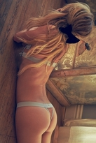 SKIVVIES by For Love & Lemons Florette Thong in Dusty Grey/Nude