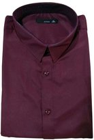 Black Temptation Classics Pure Color Men's fitted Short Sleeve Dress Shirt , XXL (Asian Size)