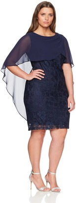 Sangria Women's Plus Size Lace Dress with Capelet Overlay Navy 18W