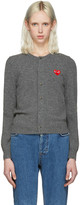 Comme des Garcons Grey Wool Heart Patch Cardigan