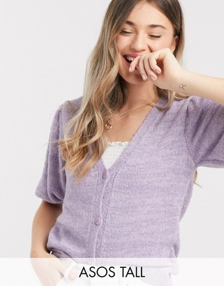 ASOS DESIGN Tall cardigan with puff sleeves in violet
