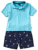 Nautica Baby Boys 12-24 Months Solid Short-Sleeve Polo Shirt & Printed Shorts Set