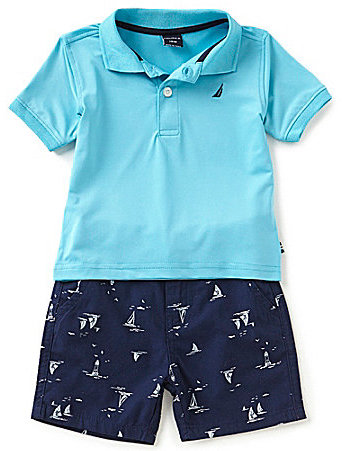 Nautica Baby Boys 12-24 Months Solid Short-Sleeve Polo Shirt & Printed Shorts Set