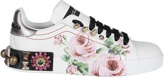 Dolce & Gabbana Portofino Floral Print Sneakers