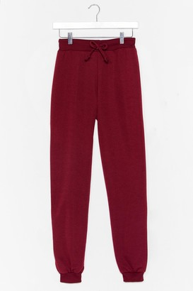 Nasty Gal Womens Don't Run Your Mouth High-Waisted Joggers - Red - 4, Red
