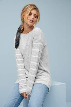 Next Womens Grey Cosy Button Back Top - Grey