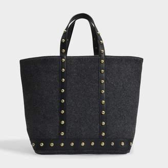 Vanessa Bruno Medium + Cabas Tote Bag In Grey Wool And Studs