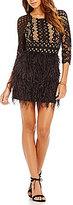 Gianni Bini Shelby Scoop Neck Feather Skirt Dress